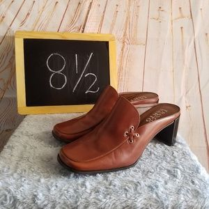 Franco Sarto Brown Leather Mules Size 8 1/2